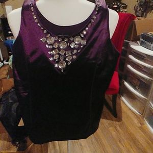 Silk top with rhinestones